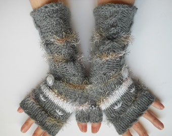 HAND KNITTED GLOVES / Women Accessories Fingerless Mittens Elegant Warm Wrist Warmers / Crocheted Winter Cabled Romantic Gift Ideas Arm 586