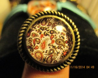 Brown Paisley Adjustable Ring