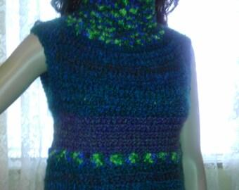 Sleeveless turtleneck crocheted women's sweater