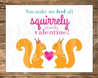 Squirrel Valentine Card, Happy, Love, Heart, Boy, Girl, Squirrely