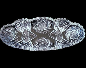 American Brilliant Cut Glass Relish Dish Tray Crystal Celery Dish Tray