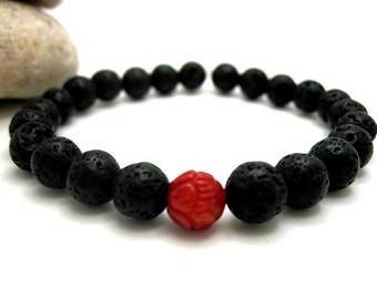 Lava Rock and Carved Red Coral Mens Energy Bracelet