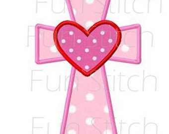 Cross with heart applique machine embroidery design