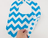 Neon Blue Chevron Bib with Neon Blue Polka Dot Reverse
