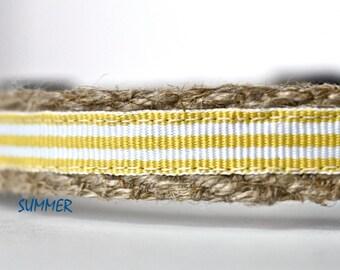 "Yellow Dog Collar, Stripe Dog Collar, Yellow and White Dog Collar, Narrow Dog Collar, Adjustable Dog Collar, 5/8"" Wide Collar"