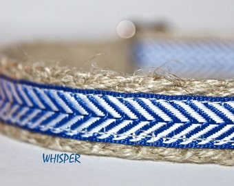 Blue and White Dog Collar, Royal Blue Ribbon Dog Collar, Narrow Leash, Small Dog Lead