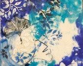 Ginko leaves(Blue)-encaustic painting
