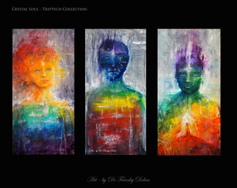 Crystal Soul Triptych. 3 Canvas Hand Embellished Original Matted Painting-Prints by Fae Factory Artist Dr Franky Dolan (Abstract Canvas Art)