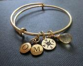 Compass bracelet bangle, personalized compass charm bracelet, initial, birthstone, enjoy the journey