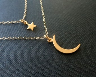 Moon and star layered necklace, crescent moon and star double strand necklace, gold moon necklace,  celestial jewelry, nymetals