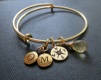 Going away gift, Compass bangle, long distance, friendship bracelet, best friends initial birthstone, personalized jewelry, gold finish