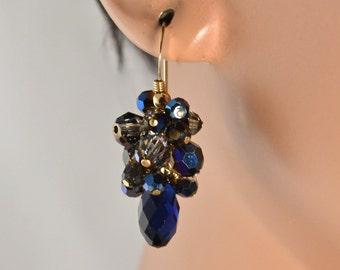 LP 1198  Dark Indigo Swarovski Crystal Earrings