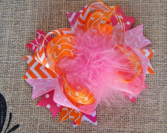 Hair Bow, Colorful Hair Ribbon, Custom Baby Hairbow, Ribbon Hair Clip, Baby Hair Bow Clip, Pink and Orange Bow