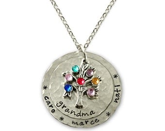 Family Tree Necklace, Grandmother Necklace, Grandma Necklace Child Names Birthstone Necklace, Family Tree Grandma Necklace, Grandma Necklace