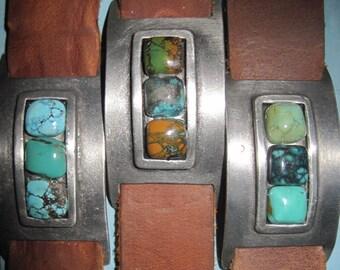 Sundance Saddle Tan Leather & Variegated Turquoise Stones Mens Cuff Bracelet