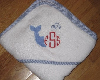 Personalized Nautical Whale Hooded Towel