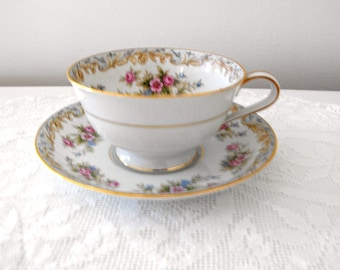 Noritake China Footed Cup and Saucer, Somerset 5317 Made in Japan -  Delicate Pink Floral China Cup and Saucer - Cottage Chic China
