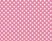 Pink and White Polka Dot Jersey Knit Fabric From Riley Blake Basics, 1 Yard