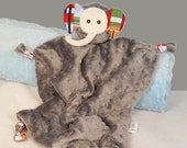 Elephant Baby Toy, Lovey Blanket, Baby Blanket, Gray Minky with Going Coastal for a Boy