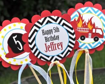 Fire Truck Birthday Centerpiece Sticks - Fire Truck Birthday Decorations - Boys Firetruck Theme Party - Set of 3