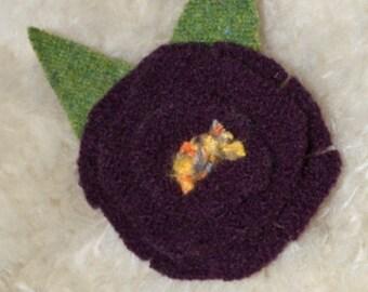 DEEP PLUM Felted Wool Flower Pin