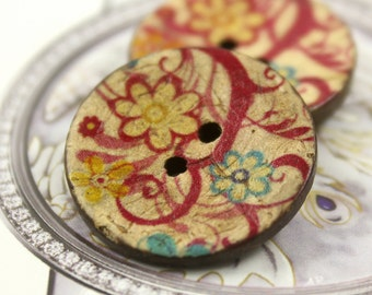 Flower Wooden Buttons - Vine and Flower Coconut Buttons 1 inch . 6 in a set