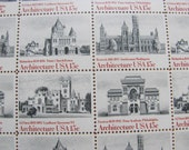 UNused Vintage US Postage Stamps Full Sheet of 40 15cent 1980s American Architecture Postage Stamps Valentine's Save the Date Wedding Stamps