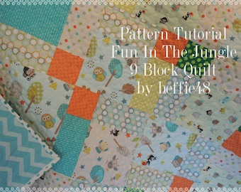 Quilt Pattern, Fun In The Jungle 9 Block Quilt, Instant Download, pdf