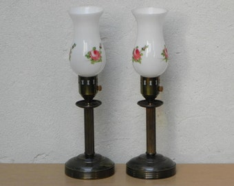 Pair Deco Antique Brass Dresser Lamps, Glass Torchiere Shrouds with Painted Roses