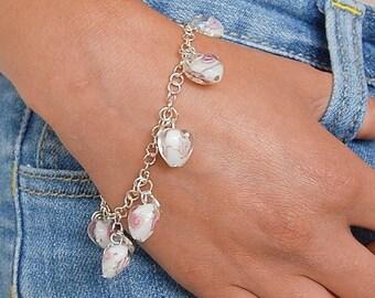 Heart charm bracelet, white glass bead bracelet