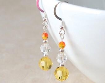 Yellow Swarovski crystal earrings, Sterling silver earrings or silver plated