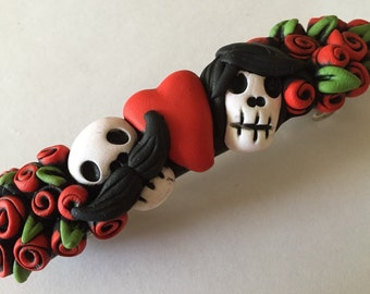 Red Roses Skull Barrette with a Heart