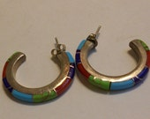 Designer signed Vintage ZUNI Sterling Hoop Earrings inlaid with onyx/red coral/turquoise/lapis
