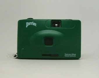 Vintage Green Perrier 35mm Camera, with ROLAND GARROS 1996 on front