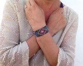 Beaded Rainbow Green Mandala, Diamond Eye Bracelet Cuff, Huichol inspired, One of A Kind