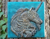 Unicorn Art Stone Wall Plaque, Unicorn Fantasy, Garden Sculpture, Unicorn Gift, Cast Stone Art, Unicorn Art