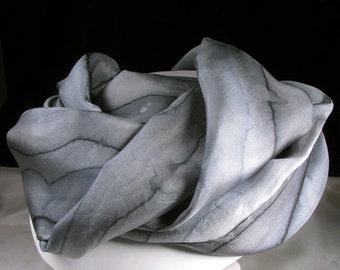 Silk Scarf, Hand Painted Silk Scarf - Quintess, Silk wrap  - Grey Mist