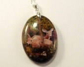 RESERVED FOR DOWSON  Deer Resin Scene Necklace