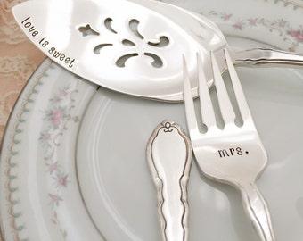 Mr. & Mrs. forks and cake server set vintage wedding , Alouette, hand stamped