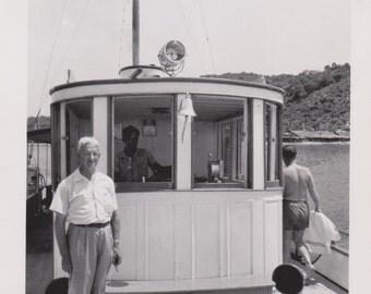 Vintage Photo - Man on a Boat - Vintage Photograph, Vernacular  (M)