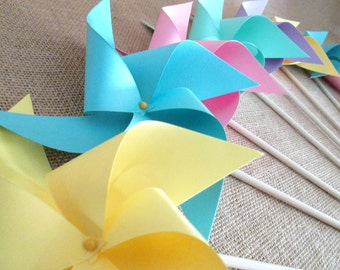 Paper Pinwheels in Pastels Twirling Pinwheels Pastel Color Pinwheels Birthday Party Favors Baby Shower Favors Bat Mitzvah Favors