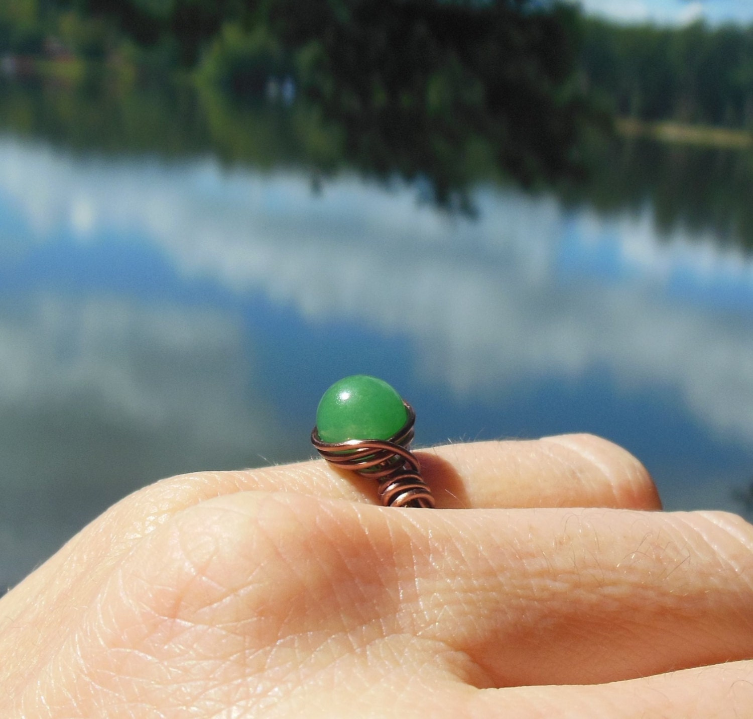 Green Aventurine stone antique copper wire wrapped Ring - custom ...