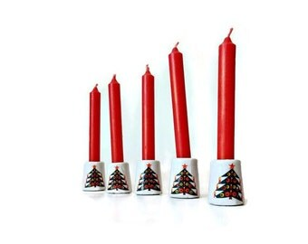 Mini Christmas Candle Holders - Five with Extra Candles