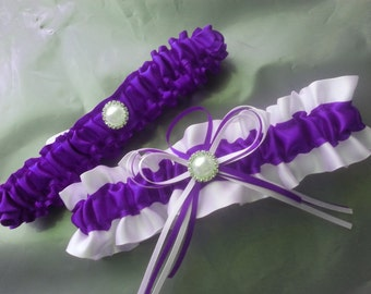 Wedding Garter SET , beautiful purple and white with Pearls and diamontes