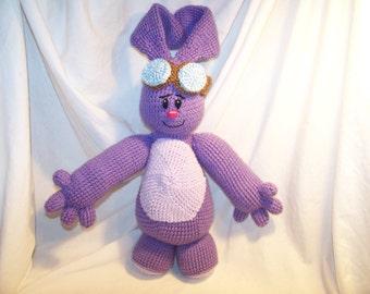 Crochet purple Bunny with aviators goggles cartoon inspired by mim
