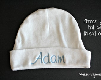 Personalized Baby Hat - Gift for the Mom to Be - Great to have in the Hospital Bag - by Mommy Moxie on Etsy