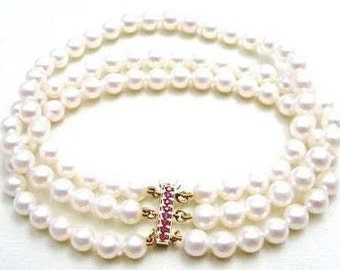 Ashira Genuine 14k Yellow Gold Natural Ruby Clasp 3 Strand Akoya Off-White Pearl Bracelet 7 1/2""