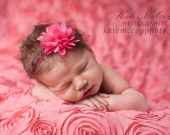 Pink baby headband, infant headband, newborn headband, hot pink headband, small flower headband, dark pink headband, baby hair band