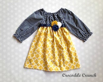 Navy and Mustard Girl's Fall Dress - Long Sleeve Dress - Baby Girl Dress - Girls Dresses - Fall Dresses