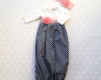 Baby Girl Layette Gown in Navy Polka Dots with Pink Lace